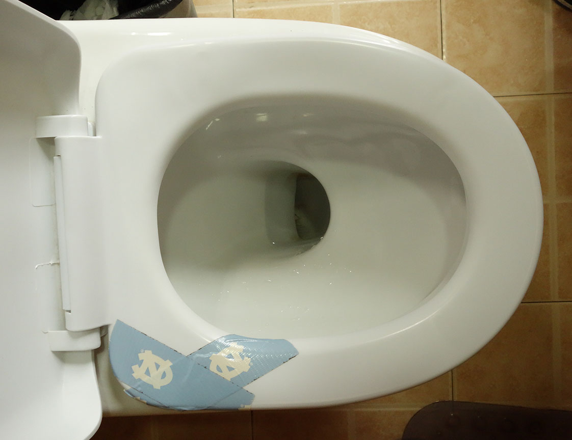 How a Tar Heel fixes a broken commode seat in China.