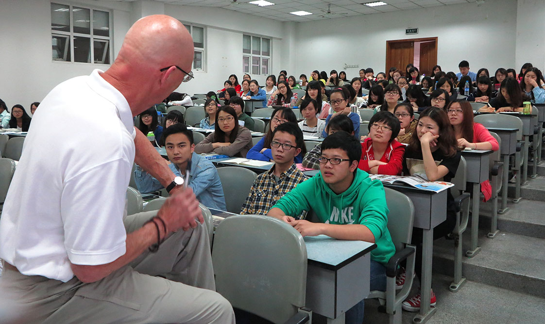 Intense faces and intense questions from the journalism students at Southwest University of Political Science and Law in Chongqing. (Photo courtesy of the Huixing Journal)