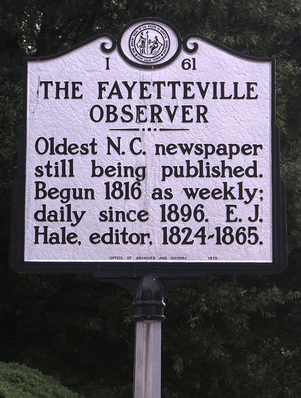 There's a state historical marker out in front of the Observer's office; the only one of its kind in N.C. (Photo by Jock Lauterer)