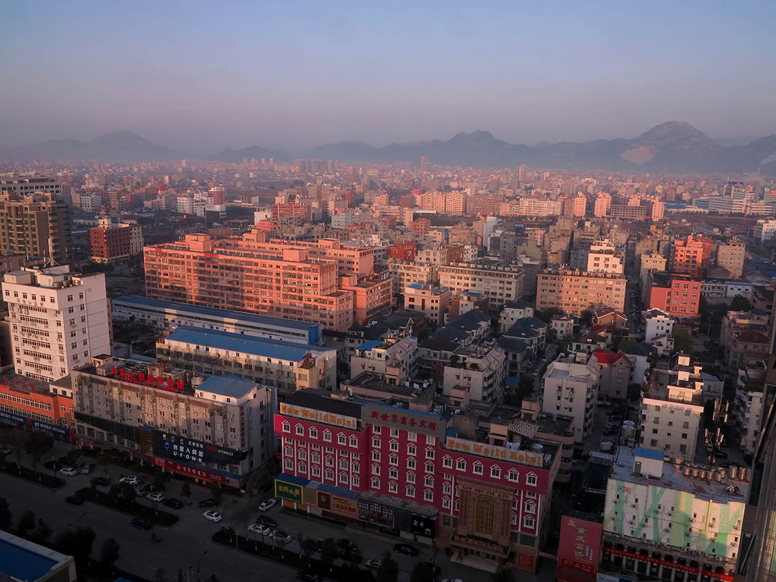 The city of Liu Shi, with 600,000 souls, is considered small in China. (Jock Lauterer photo)